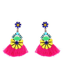 Vintage Multi-color Tassel&diamond Decorated Color Matching Earrings