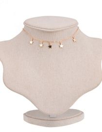 Elegant Gold Color Stars Pendant Decorated Pure Color Choker