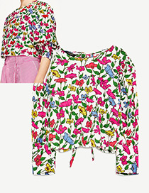 Fashion White Leaf&flower Decorated Knot Design Blouse Reviews