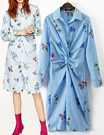Fashion Blue Flower Decorated Knot Design Long Sleeves Shirt