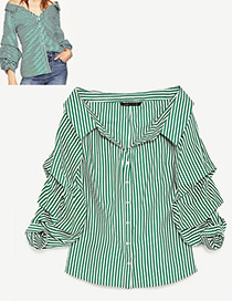 Fashion White+green Stripe Pattern Decorated Long Sleeves Shirt