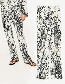 Fashion White Bamboo Leaves Pattern Decorated Long Pants