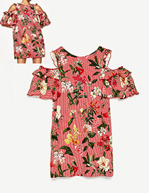 Fashion Red Stripe&flower Pattern Decorated Simple Dress
