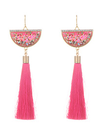 Fashion Red Long Tassel Decorated Sector Shape Earrings