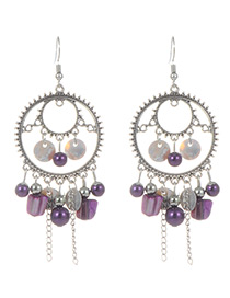 Fashion Purple Circular Ring&tassel Decorated Earrings