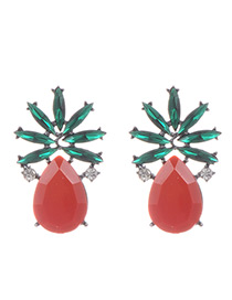 Fashion Red Oval Shape Decorated Hollow Out Earrings