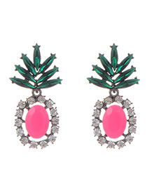 Fashion Pink Pineapple Shape Decorated Hollow Out Earrings