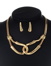 Fashion Gold Color Pure Color Decorated Cross Shape Jewelry Sets