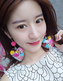 Fashion Multi-color Flamingo Decorated Heart Shape Earrings