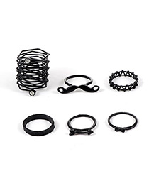 Fashion Black Pure Color Decorated Hollow Out Ring(6pcs)