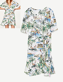 Fashion White Coconut Trees Decorated Short Sleeves Dress