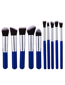 Trendy Blue+silver Color Color Matching Decorated Makeup Brush(10pcs)