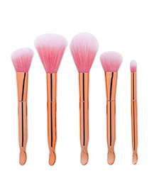 Trendy Rose Gold Pure Color Decorated Simple Makeup Brush(5pcs)