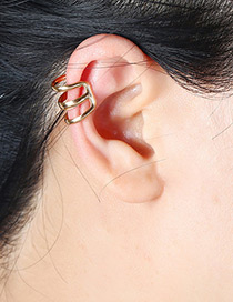 Fashion Gold Color Leaf Shape Decorated Hollow Out Earrings