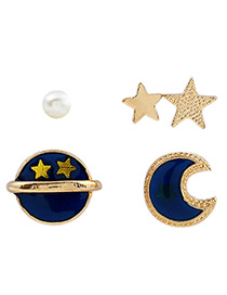Fashion Dark Blue Stars&moon Shape Decorated Simple Earrings(5pcs)
