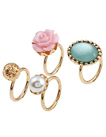 Fashion Gold Color Flower&pearls Decorated Simple Ring Sets (4pcs)