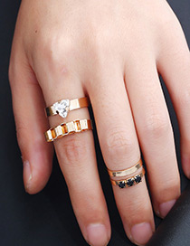 Fashion Gold Color Diamond Decorated Pure Color Simple Ring