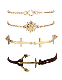 Fashion Gold Color Sun&cross Shape Decorated Simple Bracelet(4pcs)