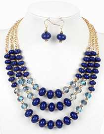 Vintage Blue Beads Decorated Multi-layer Jewelry Sets