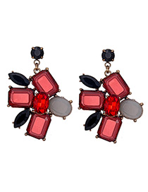Fashion Red Geometric Shape Diamond Decorated Simple Earrings