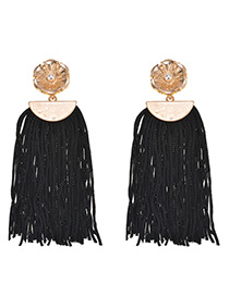 Vintage Black Tassel Decorated Pure Color Earrings