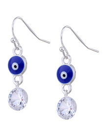 Personality Dark Blue Eyes &round Diamond Decorated Earrings