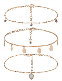 Elegant Gold Color Oval Shape Decorated Multilayer Choker
