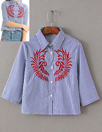 Fashion Blue+red Embroidery Decorated Long Sleeves Shirt