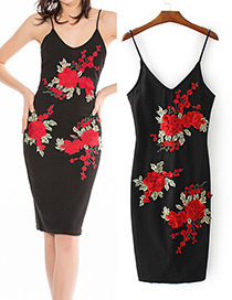 Vintage Black Rose Shape Decorated V-neckline Dress