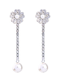 Elegant Silver Color Flower Shape Decorated Earrings