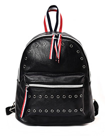 Fashion Black Color-maching Decorated Backpack