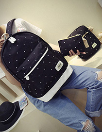 Fashion Black Dot Shape Decorated Backpack (.3pcs)
