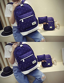 Fashion Dark Blue Dot Shape Decorated Backpack (3pcs)