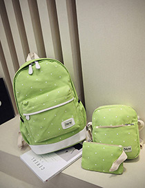 Fashion Dark Green Dot Shape Decorated Backpack (3pcs)