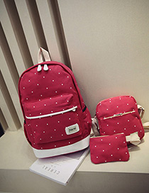 Fashion Red Dot Shape Decorated Backpack (3pcs)