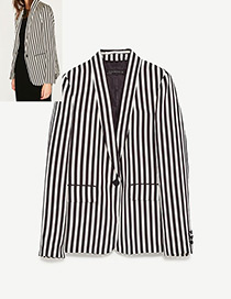 Fashion Black+white Color-matching Decorated Suit Jacket