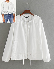 Fashion White Pure Color Decorated Round-neckline Jacket