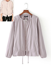 Fashion Light Pink Pure Color Decorated Round-neckline Jacket