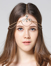 Bohemia Gold Color Oval Shape Diamond Decorated Hair Band