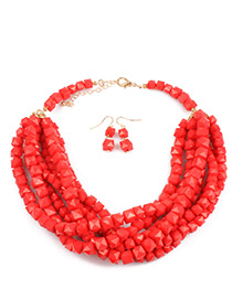 Bohemia Red Square Shape Decorated Jewelry Sets