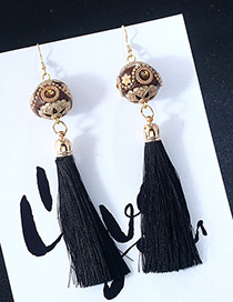 Vintage Black Ball Shape Decorated Earrings