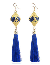 Fashion Yellow Tassel Decorated Earrings