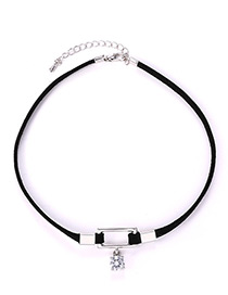 Fashion Black Square Shape Decorated Choker