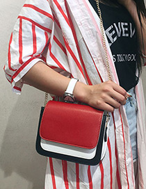 Fashion Red Chain Decorated Square Shape Shoulder Bag
