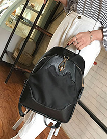 Fashion Black Pure Color Decorated Waterproof Backpack