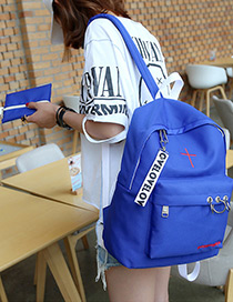 Fashion Blue Circular Rings Decorated Waterproof Backpack
