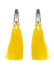 Fashion Yellow Tassel&diamond Decorated Pure Color Earrings