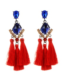 Fashion Red Tassel Decorated Geometric Shape Earrings