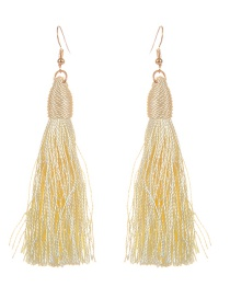 Fashion Light Yellow Long Tassel Decorated Pure Color Earrings