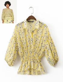 Fashion Yellow Flower Pattern Decorated Long Sleeves Blouse